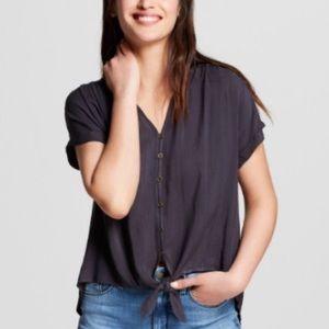 Universal Thread Tie Front Short Sleeve Shirt